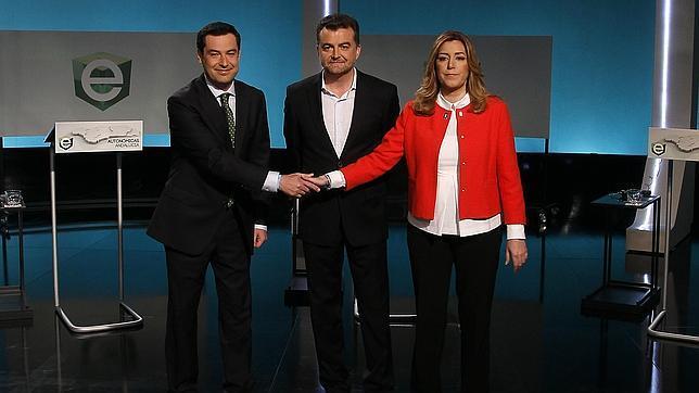 Juanma Moreno, Antonio Maíllo y Susana Díaz durante el debate