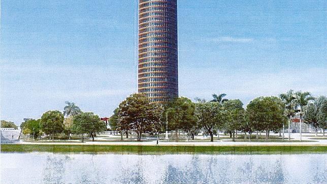 Infografía realizada por Puerto Triana del paseo fluvial que habrá junto al rascacielos