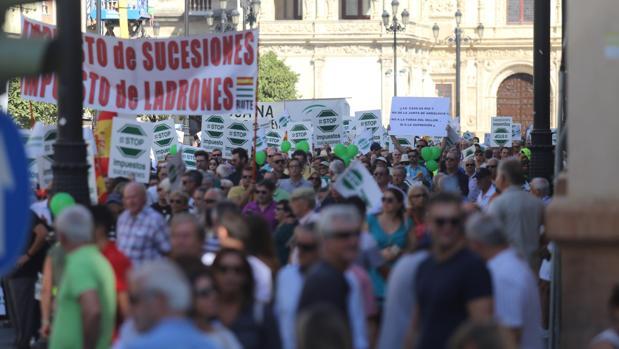 Manifestación contra el impuesto de sucesiones el pasado mes de octubre en Sevilla
