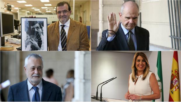 José Rodríguez de la Borbolla, Manuel Chaves, José Antonio Griñán y Susana Díaz, cuatro presidentes que se han tenido que enfrentar al caso Costa Doñana, que data de 1987