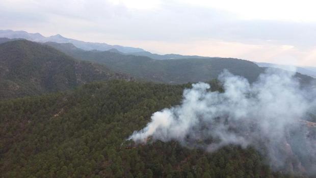 Incendio delcarado en un paraje del municipio de Hornos