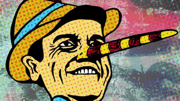 Caricatura de Pedro Sánchez caracterizado como Pinocho