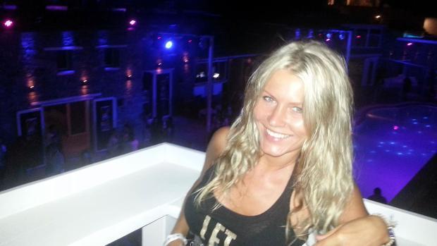 Agnese Klavina, en una sala de fiesta de Marbella