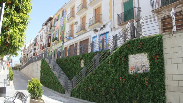 Aspecto del jardín vertical y los grafitis de La Muralla