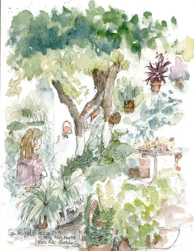 Un rincón del patio de la iglesia del Juramento de San Rafael