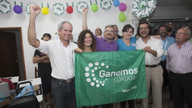 Ganemos Córdoba en su sede en la noche electoral de 2015