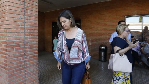 Isabel Ambrosio, a su llegada al comité provincial del PSOE de Córdoba