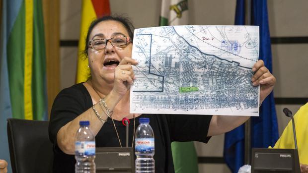La concejal de Urbanismo, la ex popular Amelia Gallardo, muestra un mapa de la parcela en el Pleno