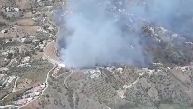 Declarado un incendio forestal en el municipio malagueño de Torrox