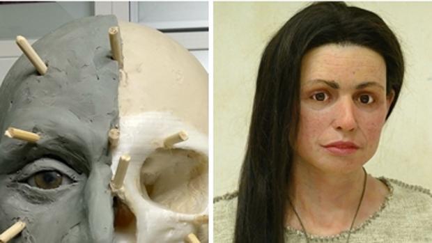Imagen del proceso de reconstrucción del cráneo y de la recreación realizada