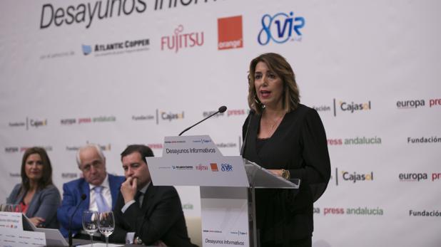 La secretaria general del PSOE andaluz, este lunes en un desayuno informativo