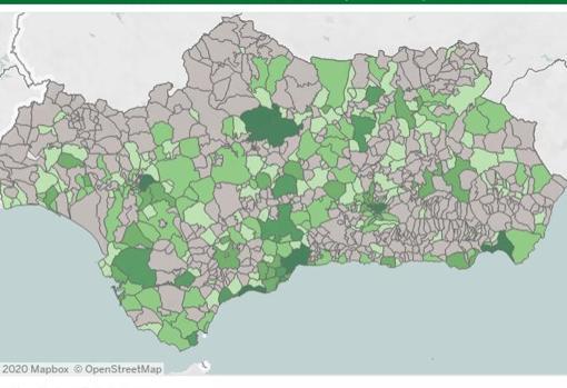 Captura de imagen de los casos en Andalucía en los últimos 14 días por municipios