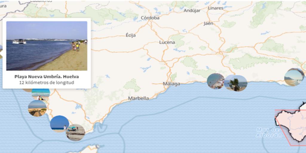 Mapa De Huelva Costa.El Mapa De Las Playas Mas Largas Y Con Mayor Aforo De Andalucia