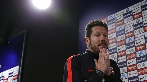 Diego Simeone, antes de la rueda de prensa