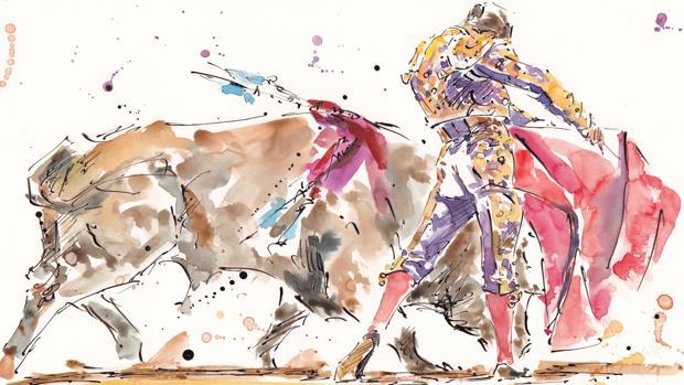 Manzanares con la muleta en el apunte de Humberto Parra