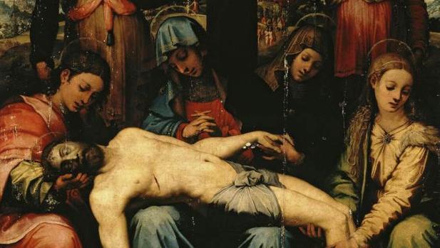 Detalle de una Piedad o Lamentación sobre Cristo muerto de Perin del Vaga