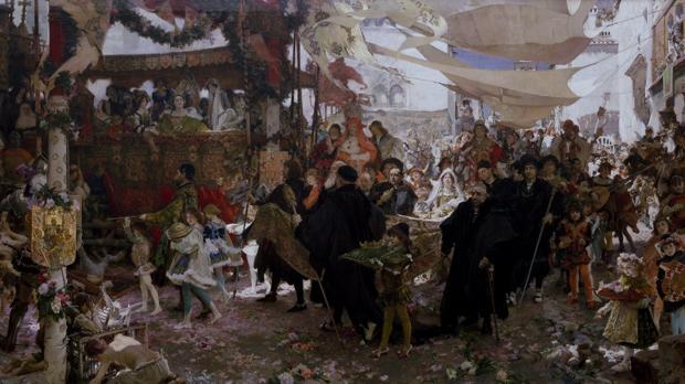 Detalle de «Cortejo del bautizo del príncipe don Juan, hijo de los Reyes Católicos, por Sevilla», de Pradilla y Ortiz