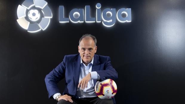 Javier Tebas, en la sede de LaLiga