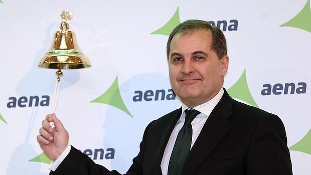 El presidente de AENA el día de su estreno en Bolsa