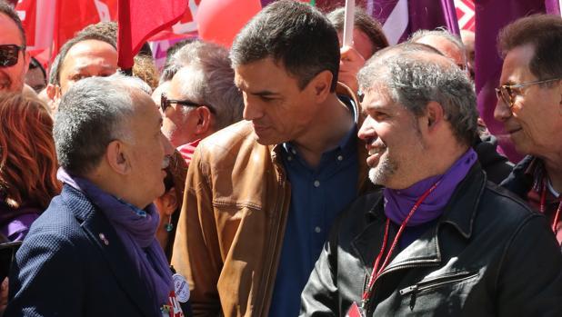 Álvarez, Sánchez y Sordo en la manifestación de Madrid el pasado Primero de Mayo