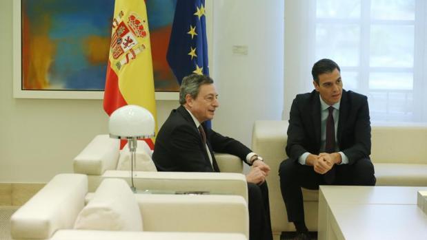 Draghi durante su visita a Madrid del pasado febrero
