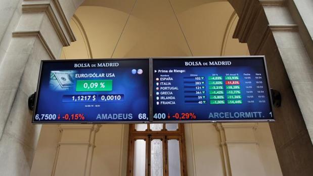 Pantalla de las primas de riesgo europeas en la Bolsa de Madrid