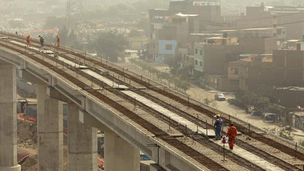 Obras de la línea 1 de metro de Lima, la capital peruana