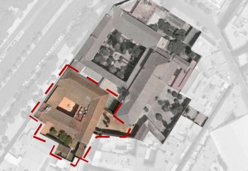Real Monasterio de San Clemente, ubicado entre la calle Torneo y Santa Clara. En rojo, delimitada la zona que se pondrá en alquiler por parte de la congregación de hermanas cistercienses