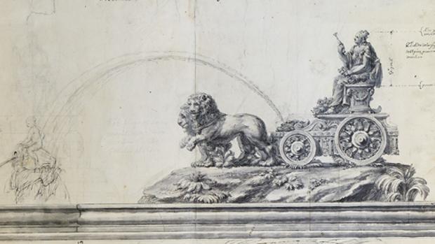 Dibujo de la fuente Cibeles de Ventura Rodríguez