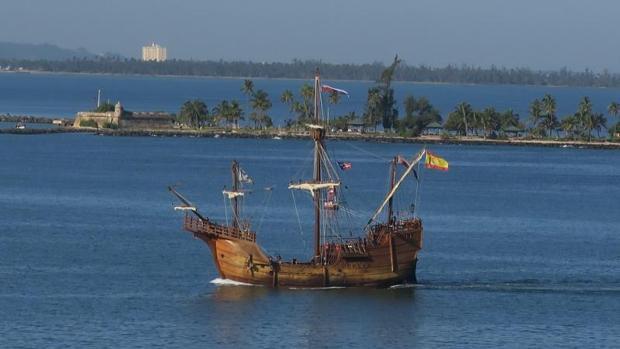 Llega a Puerto Rico la replica nao Santa María en el primer viaje al exterior desde la botadura