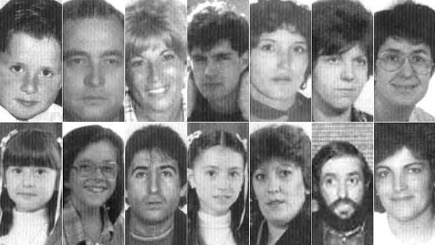 Retratos de algunas de las 21 víctimas del atentado de ETA en el Hipercor de Barcelona