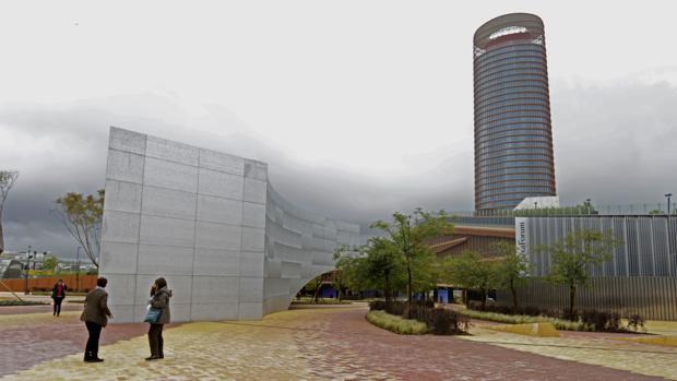 Vista exterior del nuevo edificio de CaixaForum Sevilla, junto a la Torre Sevilla