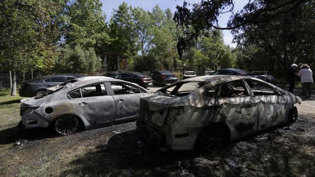 Coches quemados en Castilblanco en 2017