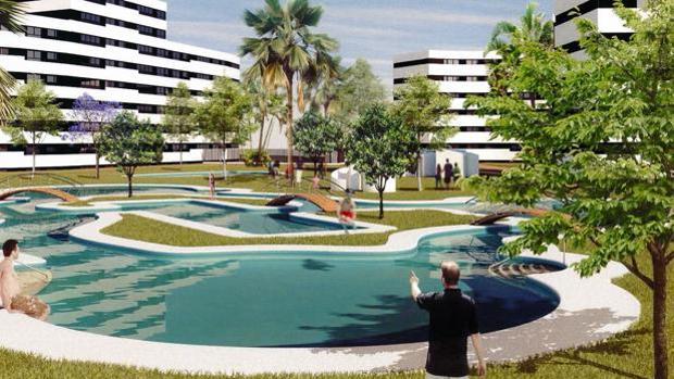 Recreación de Jardines Hacienda Rosario, cuyas obras comenzarán el próximo verano