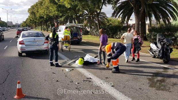El motorista herido tras una colisión en la avenida de Andalucía en Sevilla