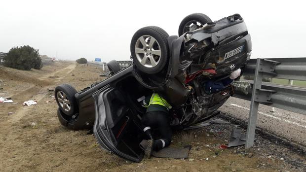 Cuatro heridos en un aparatoso accidente en la autovía Ruta