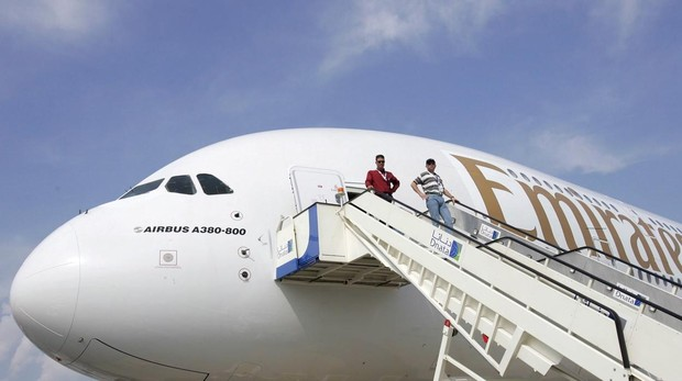 Uno de los aviones de la aerolíneas Emirates