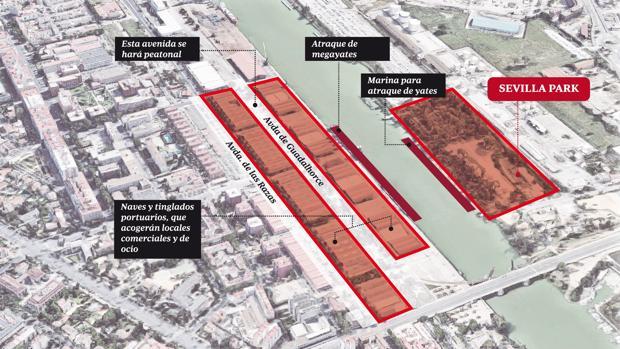 Situación que ocupará el nuevo muelle de ocio y restauración que se creará en el Puerto de Sevilla en los próximos años