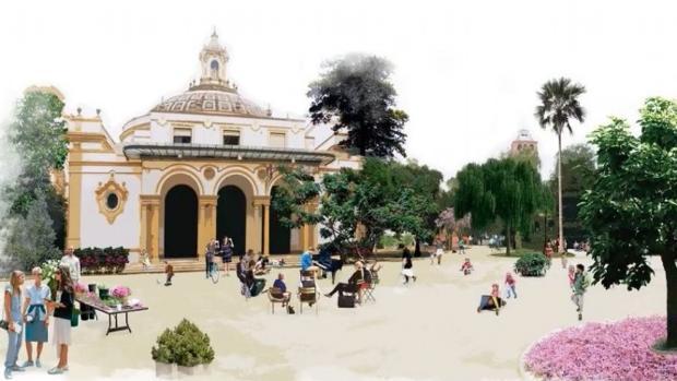 Recreación de cómo quedará la explanada de delante del antiguo Pabellón de Sevilla