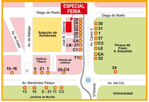 Mapa Feria Sevilla 2019.Autobuses De La Feria De Abril De Sevilla Para 2019