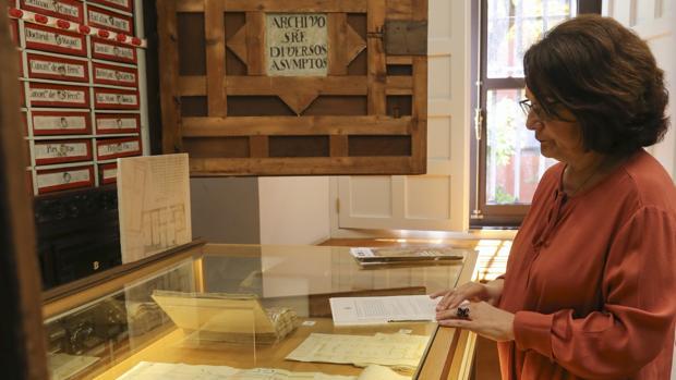 Isabel González Ferrín muestra los contenidos de la exposición