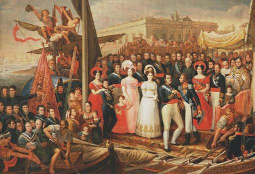 Fernadno VII desembarca con su familia en el Puerto de Santa María en 1823